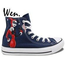 Wen Hand Painted Shoes Design Custom Joker Harley Quinn Cartoon Batman Dark Blue High Top Men Women's Canvas Sneakers