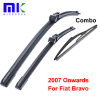 Front And Rear Wiper Blades For Fiat Bravo 2007 Onwards Fit Push Button Type Wiper Arms