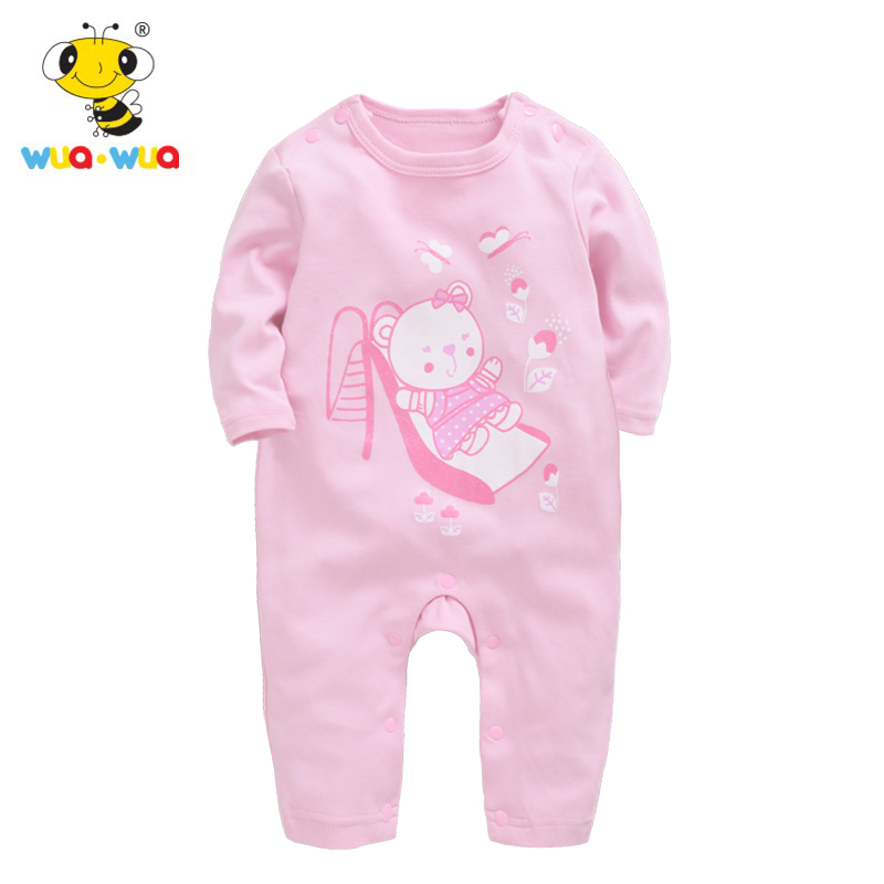Wua Wua 59-90cm Baby Girls Jumpsuits Cotton Long Sleeve Romper For Newborn Baby Pink Infant One Piece Clothes Cute Body Suits
