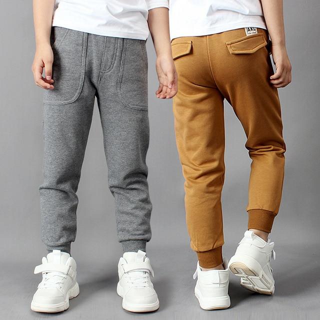 IIMADFWIW Çocuk Pantolon 2019 Ilkbahar Sonbahar Yeni Erkek spor pantolon Öğrenciler Pamuk Gevşek Rahat Renk Gri/Siyah/Kahverengi