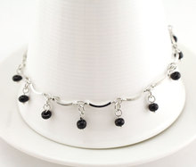 Black Beads Women's Silver Anklet