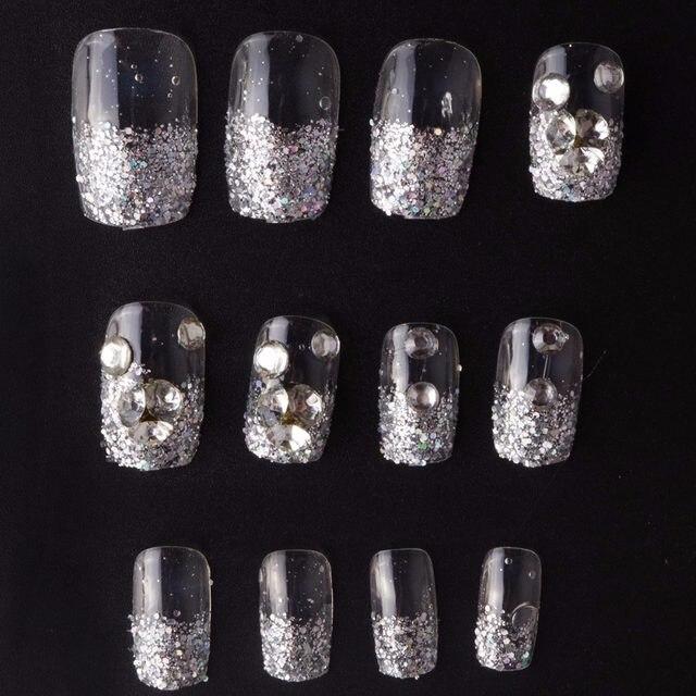 Tienda Online 2017 moda 24 piezas brillante Rhinestone falsas uñas ...