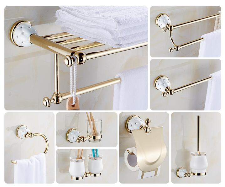 Modern sanitary hardware set Golden Finished Bathroom Accessories Products ,Towel Holder,Towel Bar towel ring set Free Shipping sanitary ware ffcf6588 towel bar bathroom accessories metal pendant