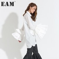 EAM New Fashion 2017 Autumn Summer Casual Top White Black Butterfly Sleeve Turn Down Neck
