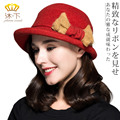 Lady New Winter Wool Hat Female Winter Elegant Bow Cap Women Korean Curling Small Basin Cap Fisherman Hat B-4496