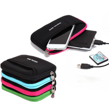 Digital Bag Zipper Hard Headphone Bag Diving Leather Earphone Case Protective Usb Cable Organizer Portable Earbuds Pouch box