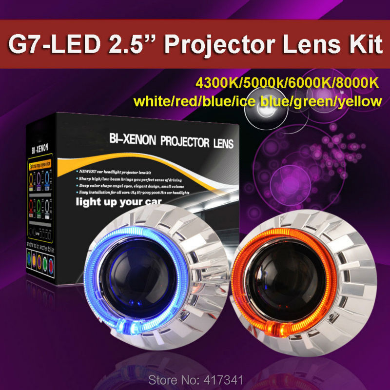 Car Light G7 2.5 H1 Mini HID Bi-xenon Projector Lens Kit LHD/RHD with 35W HID Bulb 4300K-8000K LED Angel Eye for H4 H7 Headlight lhd 35w 2 8 inch hid bixenon headlight headlamp projector lens full retrofit kit car angle eye halo h7 h4 ballast xenon bulb