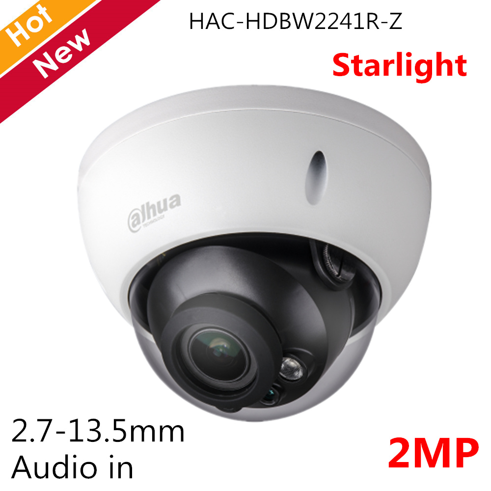 Dahua 2MP Starlight HDCVI Camera IR Dome Camera HAC-HDBW2241R-Z 2.7-13.5mm Motorized lens Audio in interface Security cameraDahua 2MP Starlight HDCVI Camera IR Dome Camera HAC-HDBW2241R-Z 2.7-13.5mm Motorized lens Audio in interface Security camera