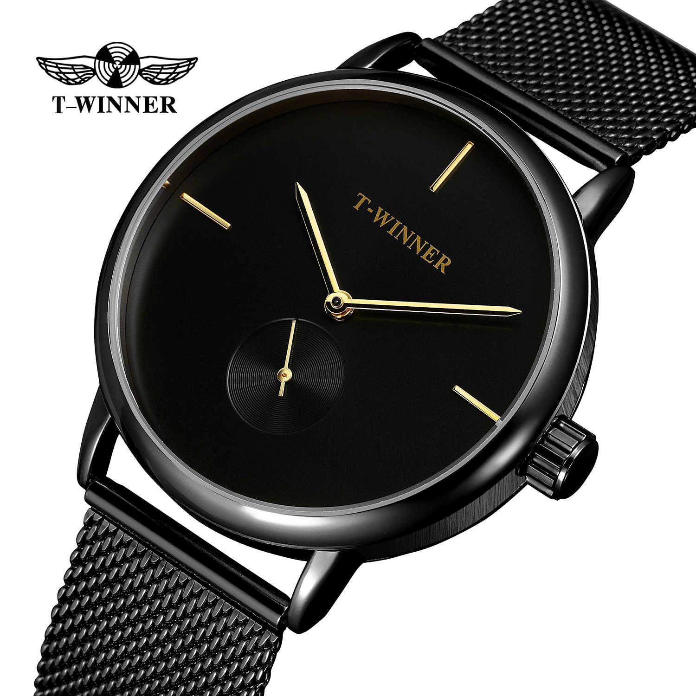 Moda t-winner, relojes mecánicos de la mejor marca para hombres, de acero inoxidable, de lujo, para negocios, funda negra para hombre, vestido Relogio Masculino