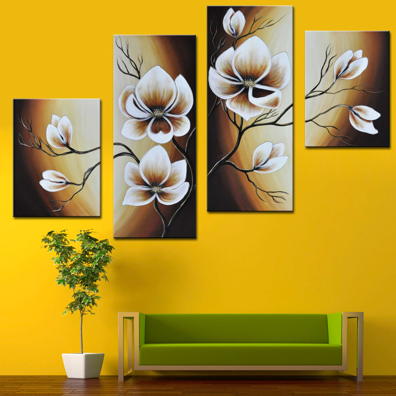 Fantastic Oil Paintings Group Hand Painted Abstract White Flower On ...