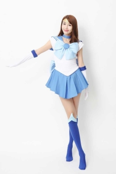 2017 New Anime Sailor Moon Cosplay Costume Sailor Mercury Costumes Carnaval/Halloween Costumes for Women/Kids Custom Any Size 2