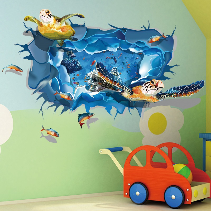 Brand New Diy 3d Pvc Sea Turtle Ocean Fish Wall Sticker Mural Art Kids Bathroom Decor