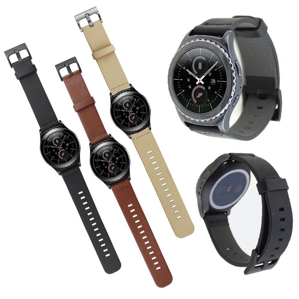 Black Brown Beige Genuine Leather Watchband For Samsung Galaxy Gear S2 Classic SM-R732 Replacement Strap w Spring Pins genuine leather watch band strap for samsung galaxy gear s2 classic r732 black
