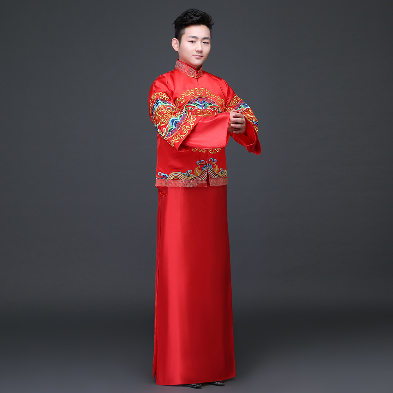 Groom show clothing embroidery pratensis dragon gown mens chinese style wedding evening Robe  tang suit jacket