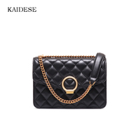 KAIDESE Summer Simple Slanting With A Leather Brand Of The International Famous Brand Vintage Black Sheepskin