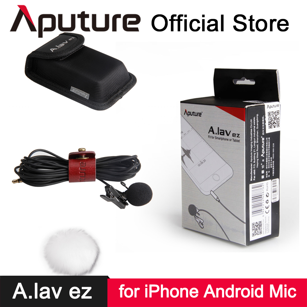 Aputure A.lav ez Lavalier Microphone for iPhone 6s iPad Android Mobile Phone Smartphone Audio Video Recording Clip-on Lapel Mic