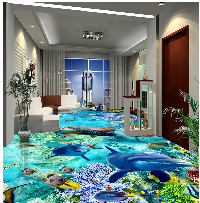 benutzerdefinierte foto selbstklebende 3d boden delphin. Black Bedroom Furniture Sets. Home Design Ideas