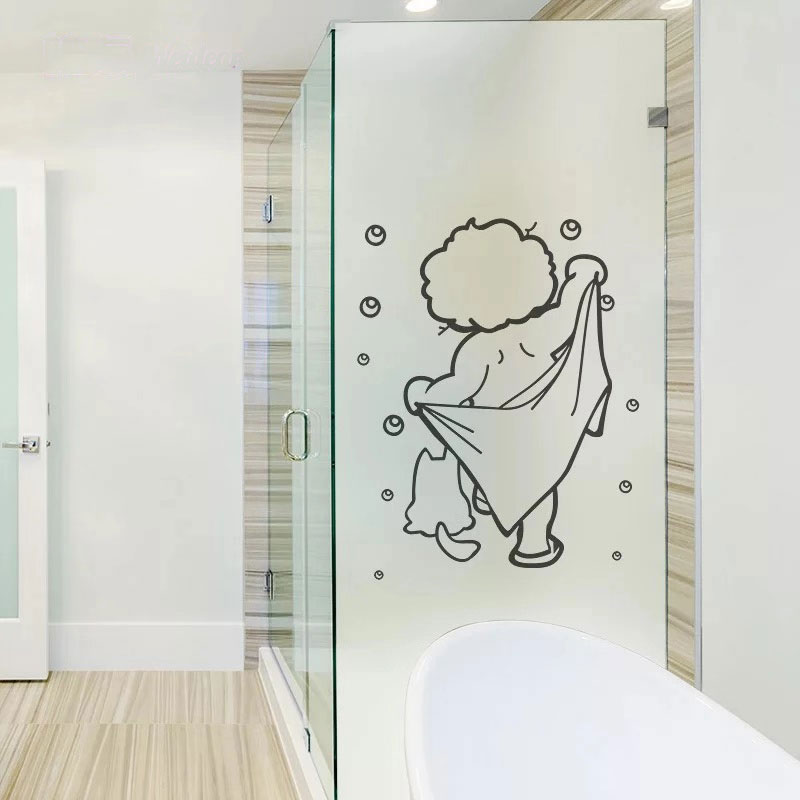 Happy bath Custom size no-glue glass Window Film Static Cling frosted bathroom shower room Sliding door Sticker decoration film