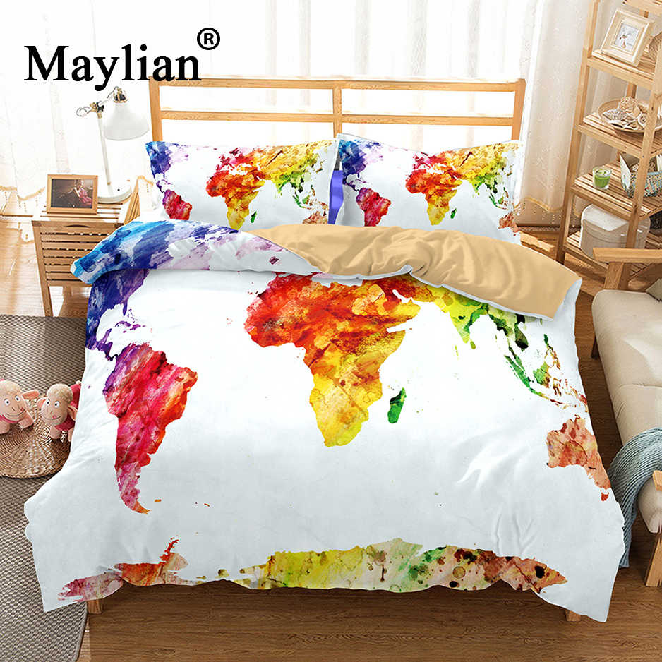 6 colors 3d world map Bedding Set Mandala Quilt Cover Peace Design Bed Set Bohemian a Mini Van Bedclothes 3pcs BE1119