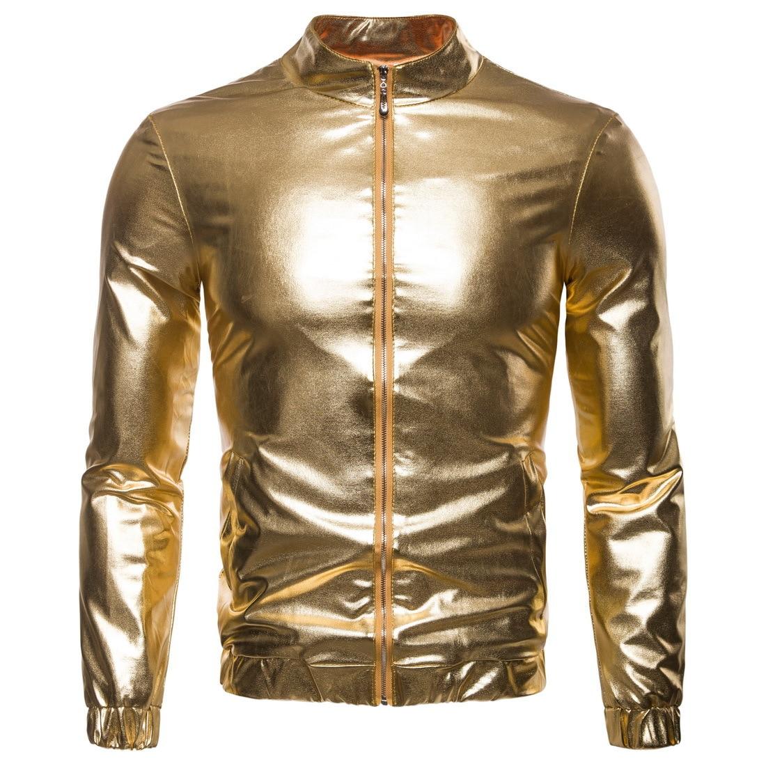 2018 Autumn winter 3D print men's casual jackets Gold&silver bling Stage nightclub male coat Zipper Slim fitness Jacket MQ793