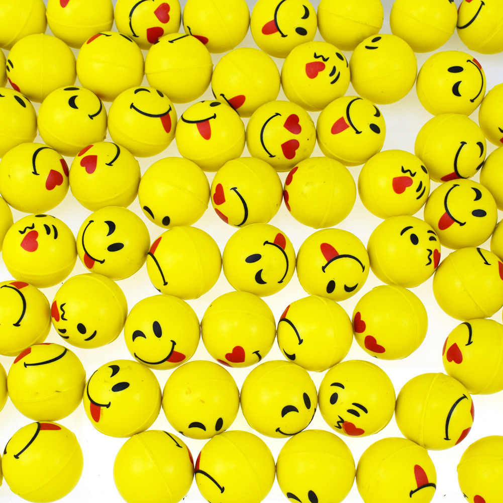 30mm Yellow Emoji Bouncing Ball Jumping Juggling Antistress Ball Toys for Kids Children Matte Floating Water Outdoor Toy Gift
