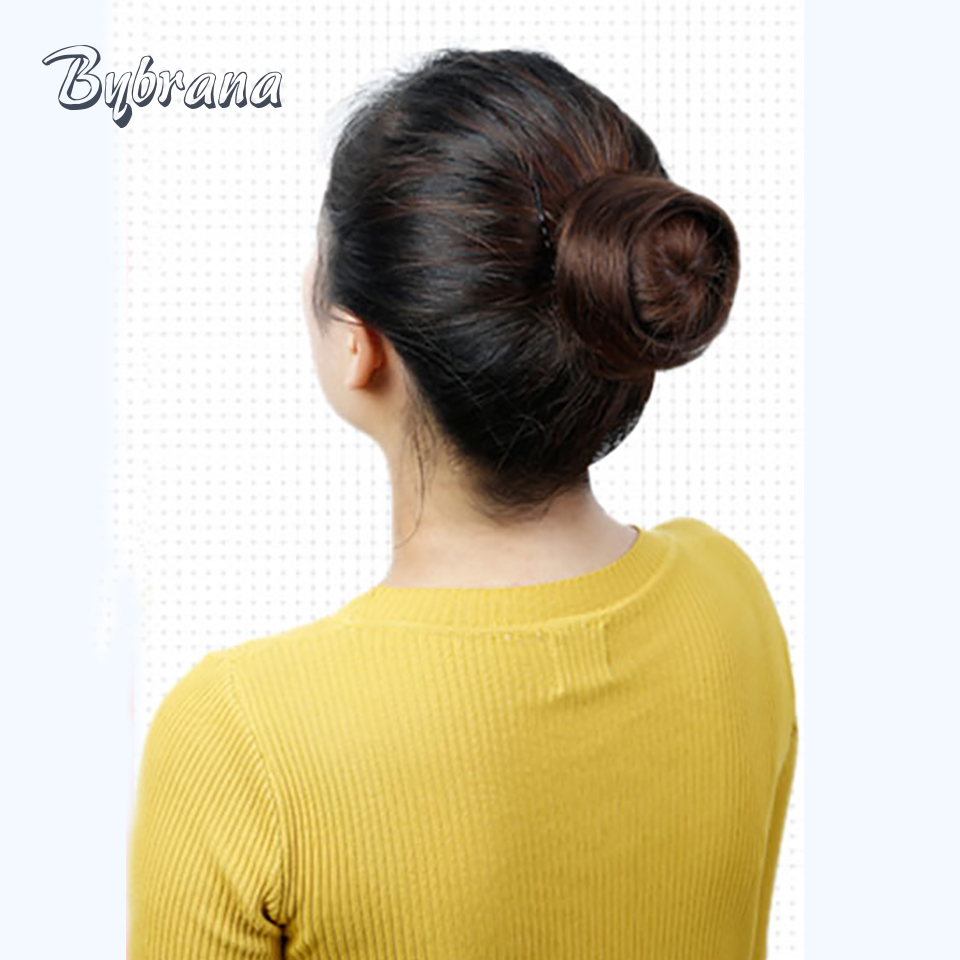 Bybrana 4 Colors Remy Human Hair Chignon Donut Buns Up Do Brazilian Hair Extensions for Women