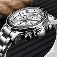 Lige relógio masculino marca de luxo esporte à prova dwaterproof água aço inoxidável analógico quartzo masculino relógios data relógio negócios erkek kol saati|Relógios de quartzo| |  -