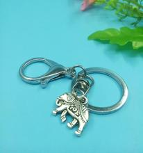 16x20mm Elephant Pendant Key Chains & Key Rings Antique Silver Charm Lobster Clasp For Car Decorative Gift 1 pcs