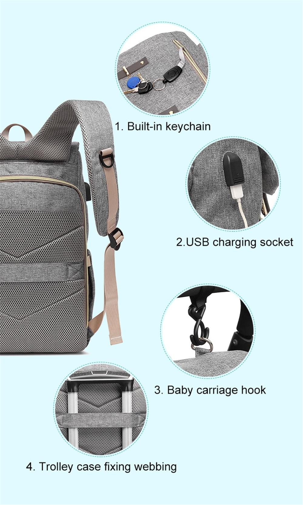 HTB1GhcnM9zqK1RjSZFLq6An2XXaJ Fashion Large Capacity Baby Nappy Bag Diaper Bag Purse Multifunction USB Mummy Travel Backpack Women Nursing Bags For Mom Daddy