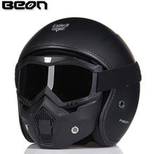 BEON Retro Vintage German Style Motorcycle Helmet 3/4 Open Face Helmet Scooter Chopper Cruiser Biker Moto Helmet Glasses Mask недорого
