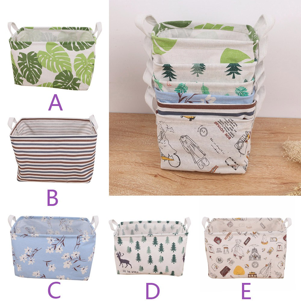Waterproof Canvas Laundry Clothes Desktop Debris Basket Storage Box Folding Organization for Hold Book Clothes Toys Storage ...