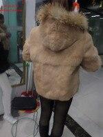 Linhaoshengyue длинные 65 см 2015 Большие размеры пальто с мехом средней длины большие размеры мех кролика Рекс волосы мех с капюшоном