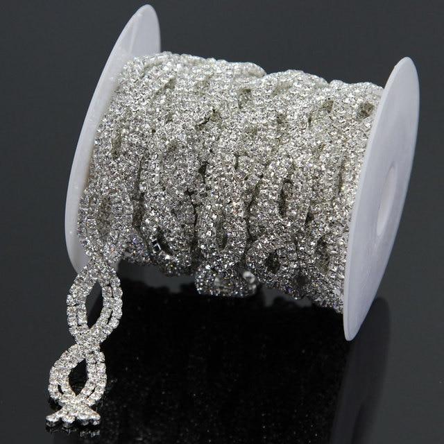 1 Yard Silver Rhinestone Trimming Chain Bridal Costume Applique Trim Sewing  Garment Bags Shoes 9f01e6e13cb3