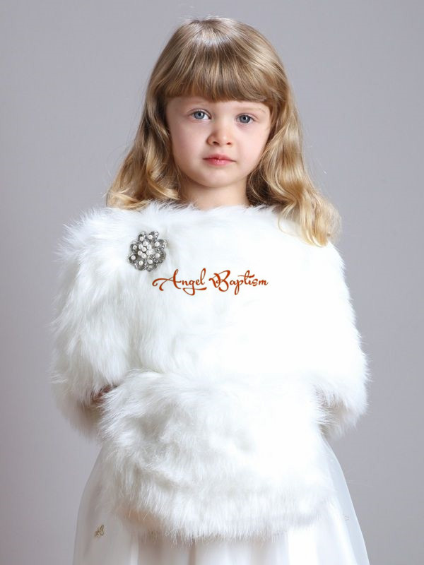 ФОТО Sweet Short Fall Winter wedding party warm white/ivory flower girl faux fur bolero thick jacket wrap kid cape with hand muffs