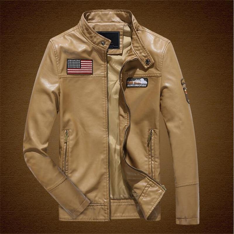 ABOORUN US Flag Mens PU Leather Jacket Fashion Military Stand Collar Slim fit Jacket P6045