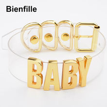 Customized Custom Women Men Unisex Letters Choker Transparent Casual Sporty Leather Kawaii Collar Silver Gold BABY Words Choker