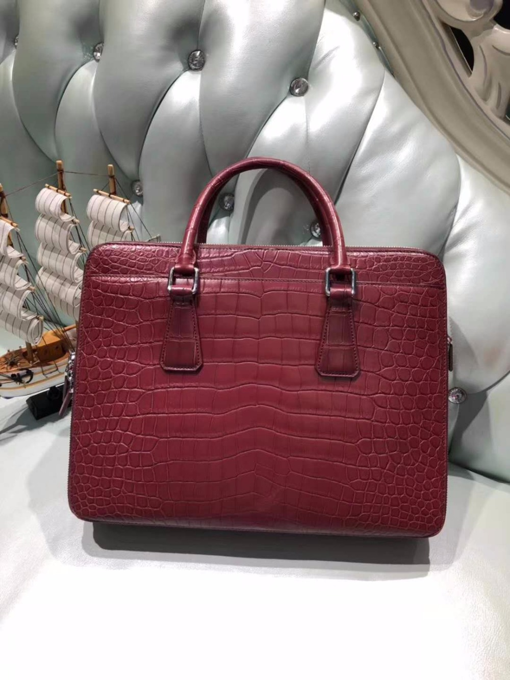 Skin-Briefcase Official-Bag Men Bag Crocodile-Skin Business Men's Genuine/real Red-Color