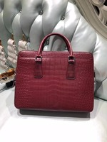 2018 newly design Men's Genuine/Real 100% Crocodile belly Skin Briefcase official Bag, Crocodile skin Business Men Bag red color