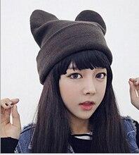 Корейский зимняя шапка мужская женская devil рога вязаная шапка уши шерстяные шляпы прекрасный Панда шляпу