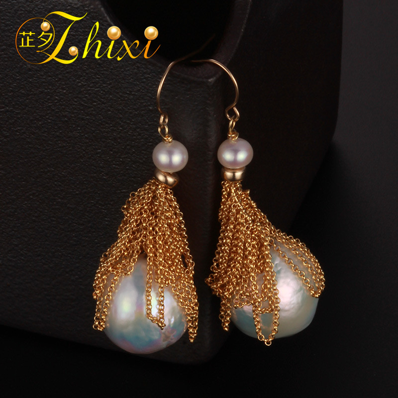 [ZHIXI] Freshwater Pearl Earrings For Women Fine Jewelry Big Pearl Earrings Gold Drop Irregular Fashion Gift For Party EB224 [zhixi] freshwater pearl earrings for women fine jewelry big pearl earrings gold drop irregular fashion gift for party eb224