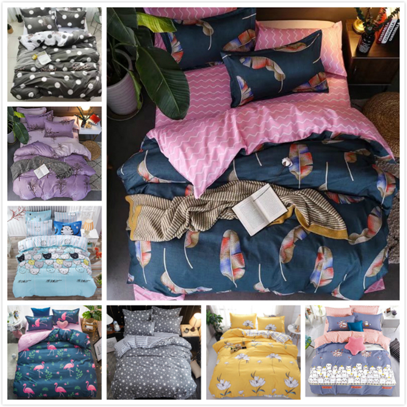 Quilt Case Fitted Sheet Pillowcover 4 pcs Bedding Set Kids 1.0m 1.2m 1.5m Bed Linen Single Twin Queen Size Duvet Cover Bedlinens