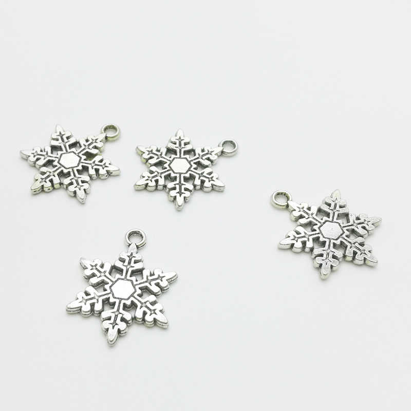 20pcs/lot Cute Christmas Snowflake Charms Pendants Fashion Jewelry DIY 17.5*23mm Antique Silver