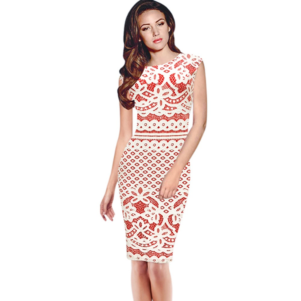 Womens elegant vintage floral flower crochet cap sleeve modest womens elegant vintage floral flower crochet cap sleeve modest patchwork pinup casual party bodycon pencil dress in dresses from womens clothing ombrellifo Images