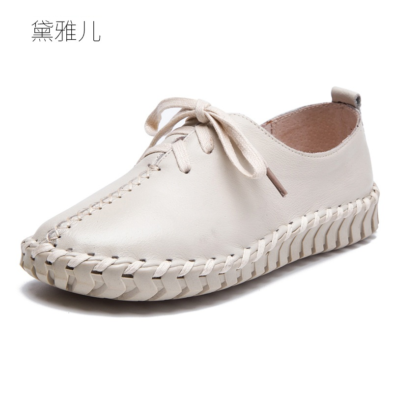 White Lace-up Fashion Loafers Handmade Genuine Leather Shoes Women Comfortable 2018 Summer Ladies Spring Autumn Woman Flats Girl 2017 autumn fashion real leather women flats moccasins comfortable summer ladies shoes cut outs loafers woman casual shoes st181