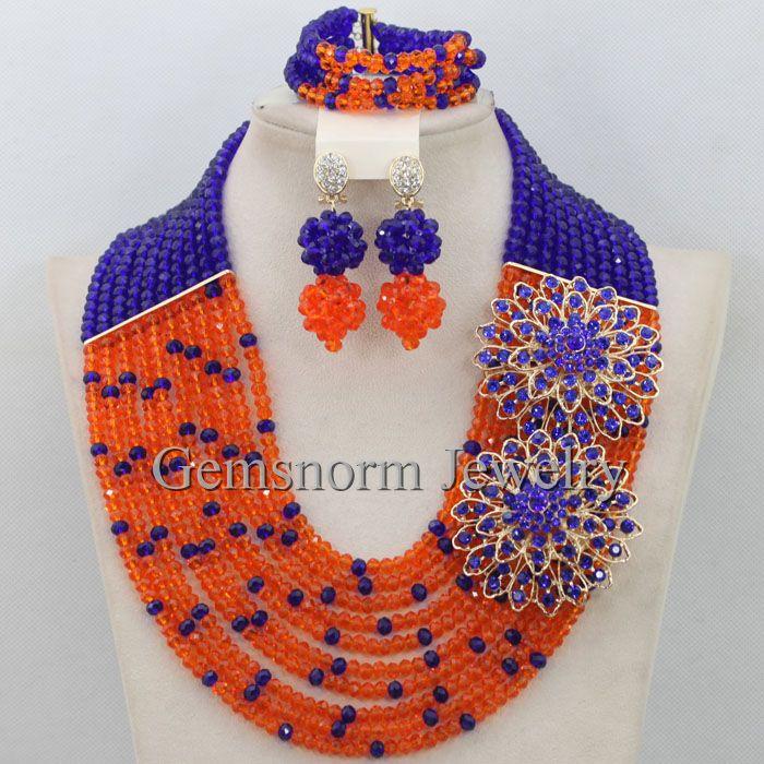 Royal Blue Orange Nigerian Wedding Jewellery Set African Beads Jewelry Set Bridal Costume Jewelry Crystal Free Shipping WA042