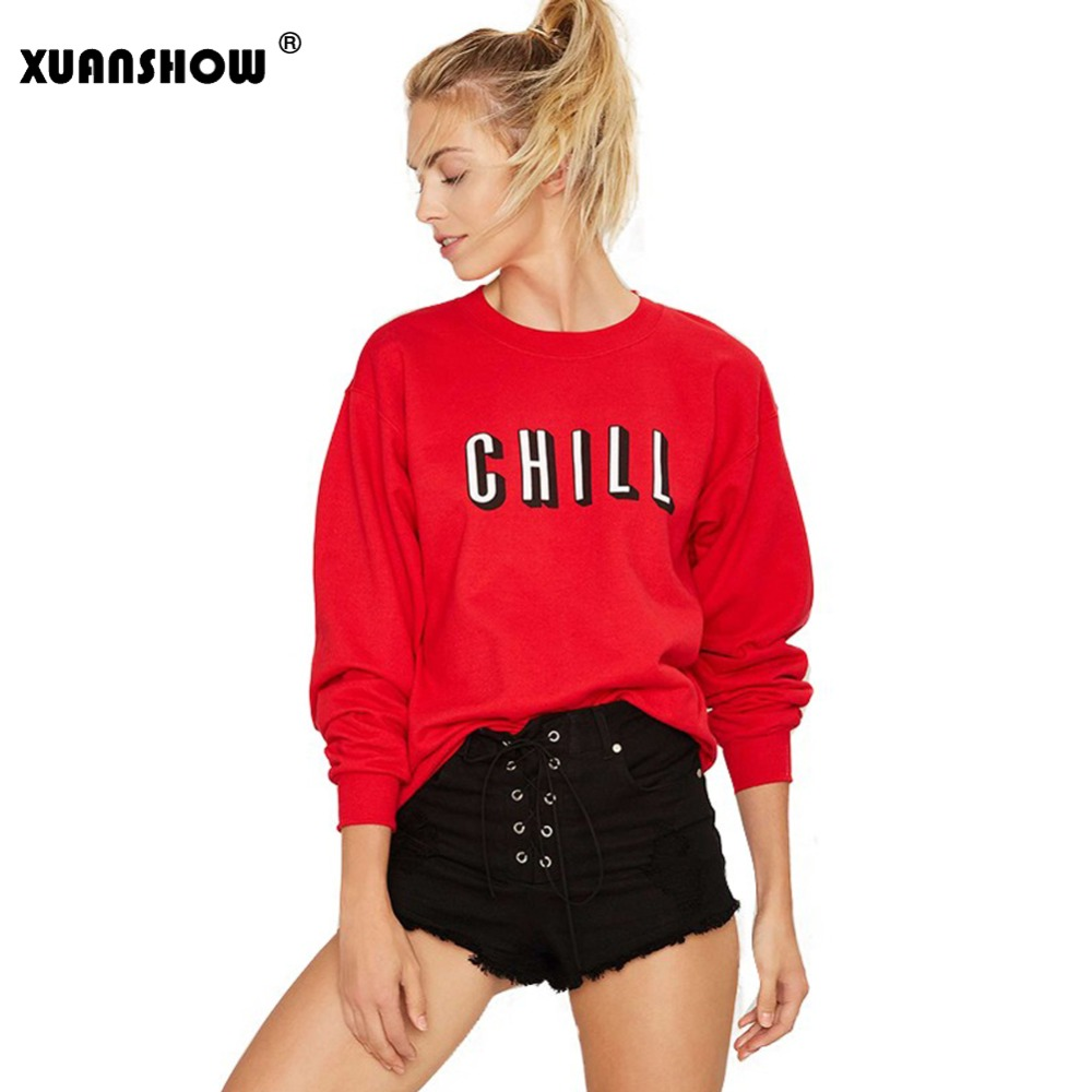 XUANSHOW Spring and Autumn Women Sweatshirts Loose Long Sleeve CHILL Letters Print Loose Pullover Sweatshirt