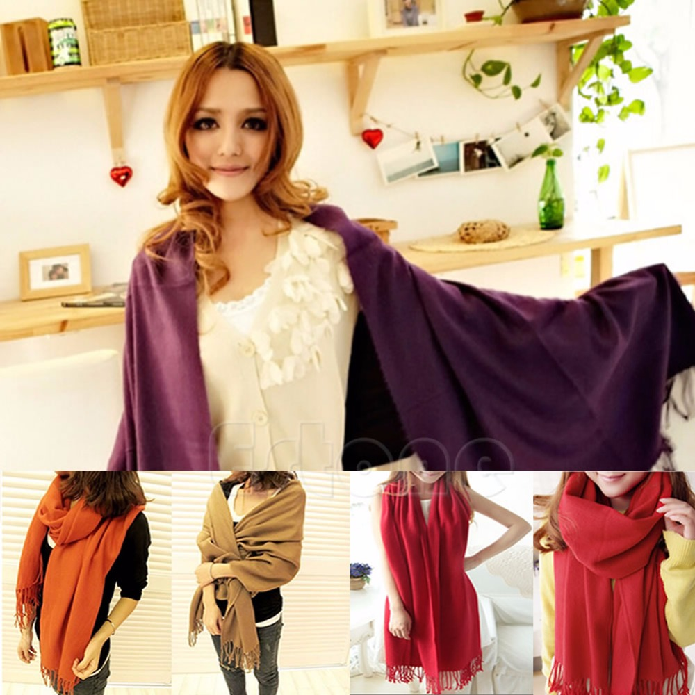8 colors Fashion Womens Winter Warm Cashmere Silk Solid Pashmina Long Shawl   Wrap     Scarf   hot sell