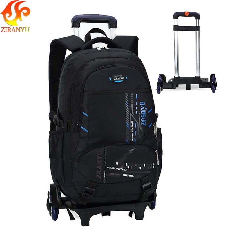 ZIRANYU High-capacity Student Shoulder Backpack Rolling Luggage Children Trolley Suitcases Wheel Cabin Travel Duffle School Bag