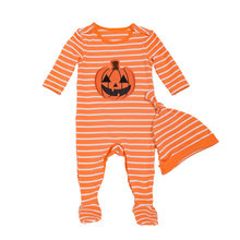 2 Pcs Baby Christmas Romper Hat Set Long Sleeve Infant Autumn Winter Striped Jumpsuit Newborn Halloween Playsuit Cotton Pajamas(China)