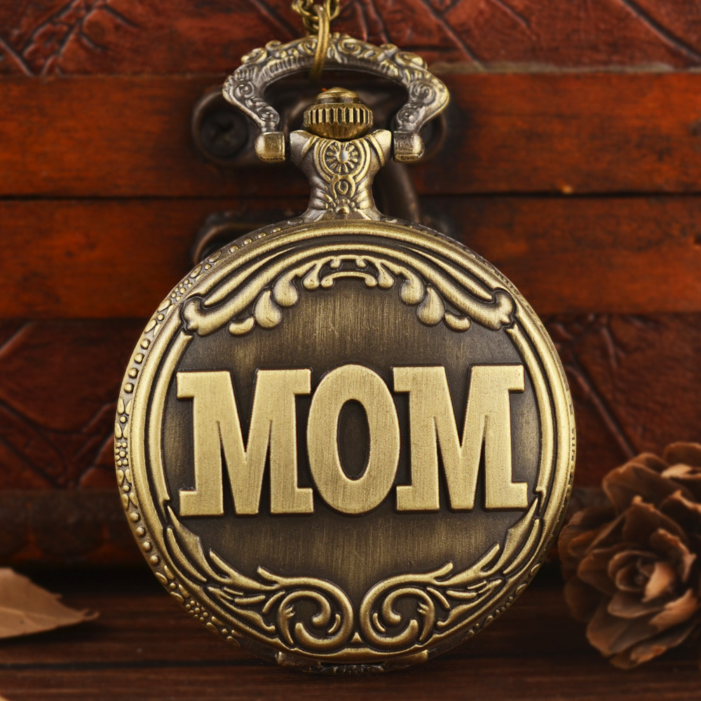 Pocket Watches Vintage School MOM Pocket Watch Quartz With Chain Necklace Pendent For Men